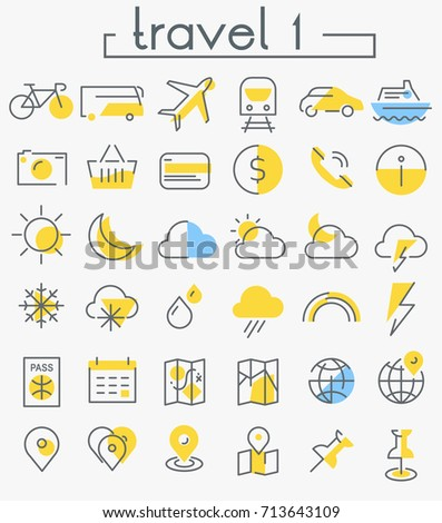 Travel, tourism and weather linear icons,