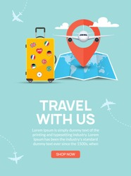 Travel tourism banner background. Luggage fun tour and bag, airplane travel design.