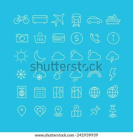 Travel tourism hotel and weather icons set 1