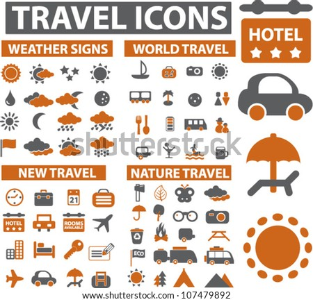 travel & tourism icons set, vector