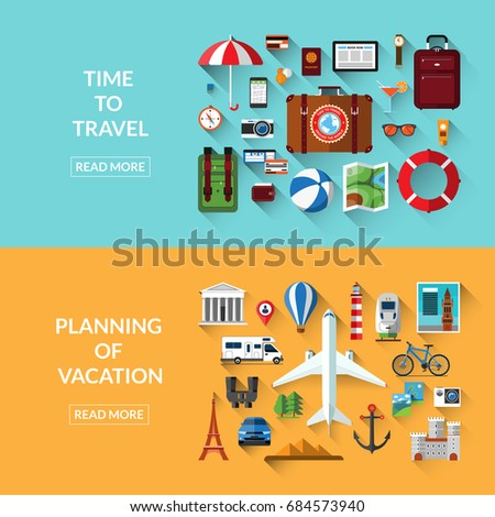 Travel, tourism, planning of vacation, adventure, journey in holidays. Set of web banners in flat style. Vector illustration. Travel items and objects. Traveling by plane, car, train, bicycle, camper
