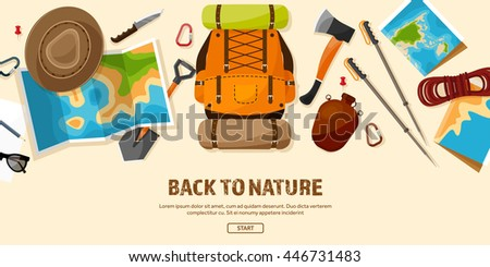 Travel,tourism vector illustration in a flat style.World travel banner.Summer holidays, vacation.Travel around the world.Journey,trip plan.Tourists tips.International tourism.Hiking and camping.