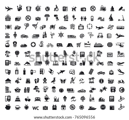 Travel, tourism, voyage, plane, ticket vector illustration icons collection, symbol, pictogram, set