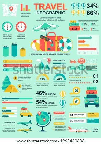 Travel vacation banner with infographic elements. Poster template with flowchart, data visualization, timeline, workflow, illustration. Vector info graphics design of marketing materials concept