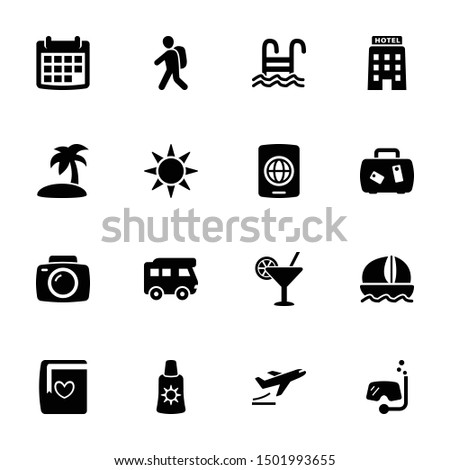 Travel & Vacation Icons in Black Color - Set 1