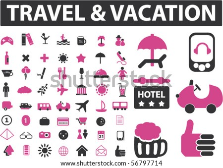 travel & vacation - mega signs set. vector