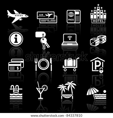 Travel, Vacation & Recreation. icons set. Tourism with reflection.