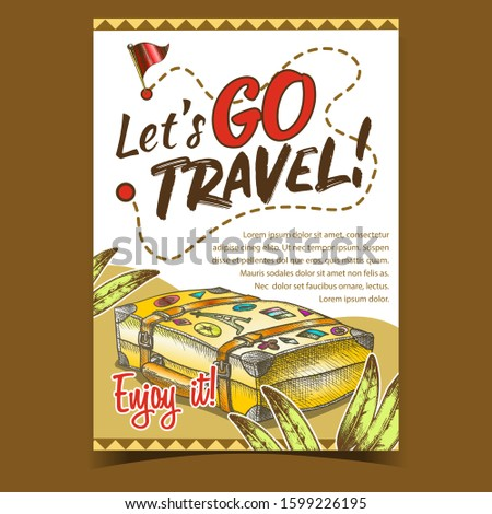 Travel Valise Luggage With Stickers Poster Vector. Lying Old Tourist Valise Container For Things And Plant Green Leaves. Voyage Baggage Designed In Vintage Style Colored Illustration