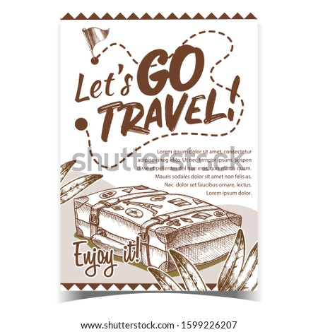 Travel Valise Luggage With Stickers Poster Vector. Lying Old Tourist Valise Container For Things And Plant Green Leaves. Voyage Baggage Designed In Vintage Style Monochrome Illustration