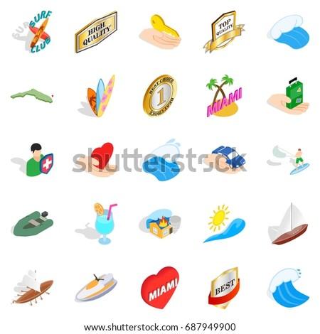 travel via boat icons set