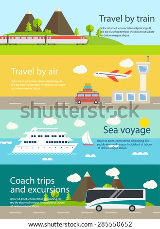 travel web banners set with