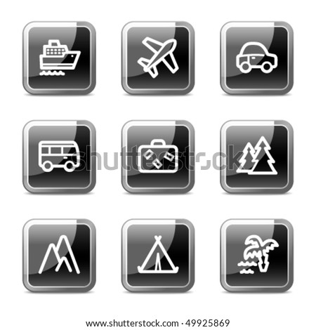 Travel web icons set 1, black square glossy buttons series