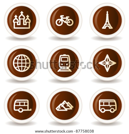 Travel web icons set 2, chocolate buttons