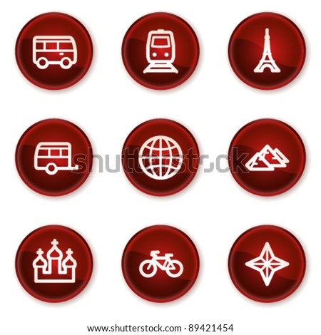 Travel web icons set 2, dark red circle buttons