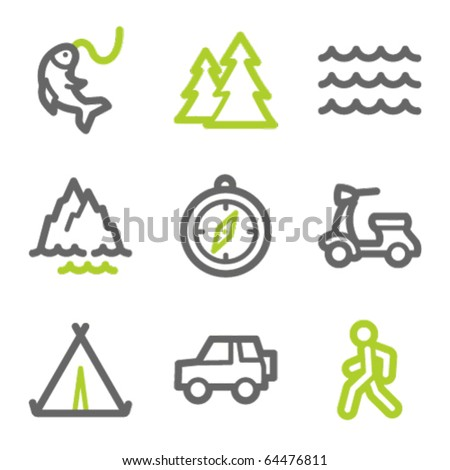 travel web icons set 3  green