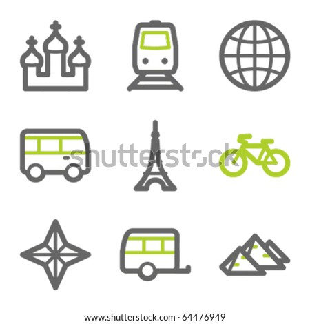 Travel web icons set 2, green and gray contour series - stock vector