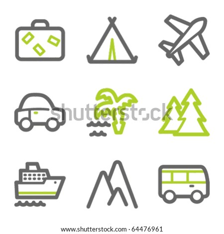 Travel web icons set 1, green and gray contour series
