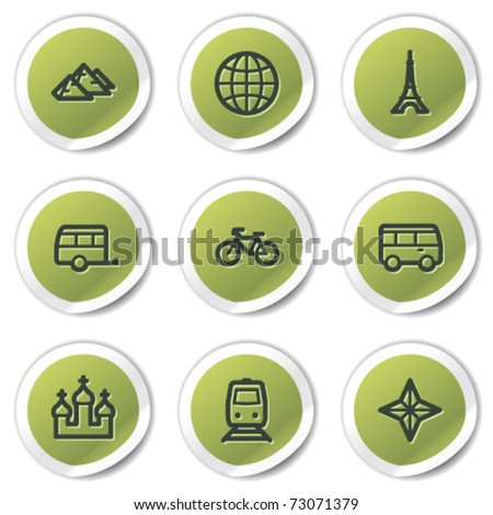 Travel web icons set 2, green circle stickers