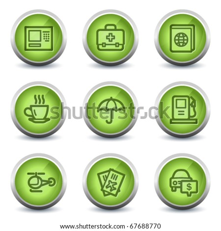 Travel web icons set 4, green glossy set