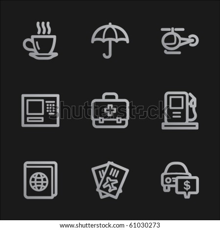 Travel web icons set 4, grey mobile style