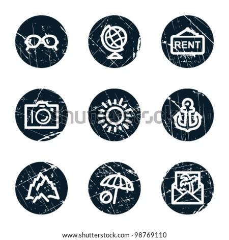 Travel web icons set 5, grunge circle buttons