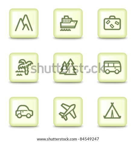 Travel web icons set 1, salad green buttons