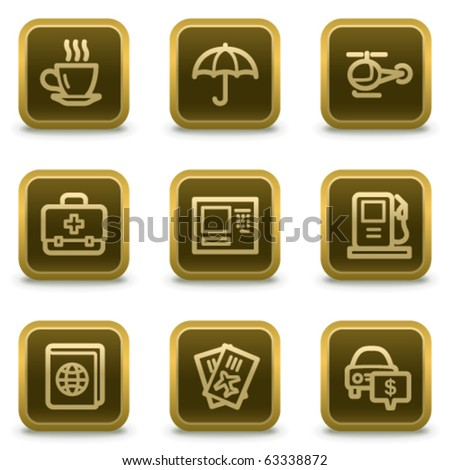 Travel web icons set 4, square brown buttons