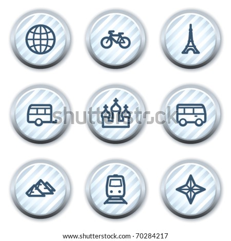 Travel web icons set 2, stripped light blue circle buttons