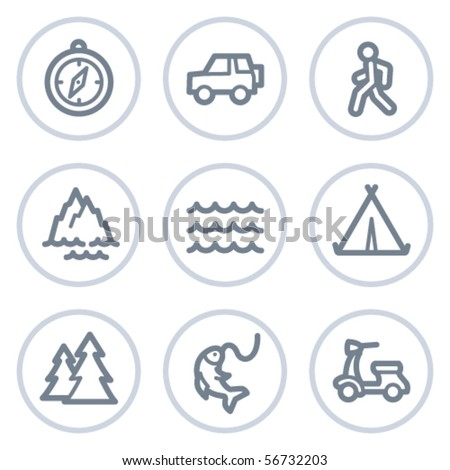 travel web icons set 3  white
