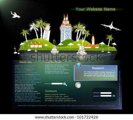 travel web template with paradise island beach and hotel - stock vector