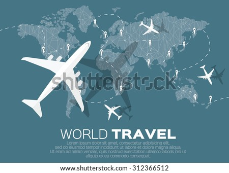 travel world map background in polygonal style with top view airplane vector illustration design