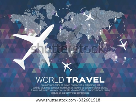 World travel download free vector art stock graphics images travel world map in polygonal style with top view airplane vector illustration design gumiabroncs Choice Image
