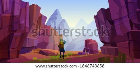 Traveler at mountains, travel journey, adventure. Tourist with backpack and map stand at rocky landscape look into the distance on high peak. Extreme hiking lifestyle, Cartoon vector illustration