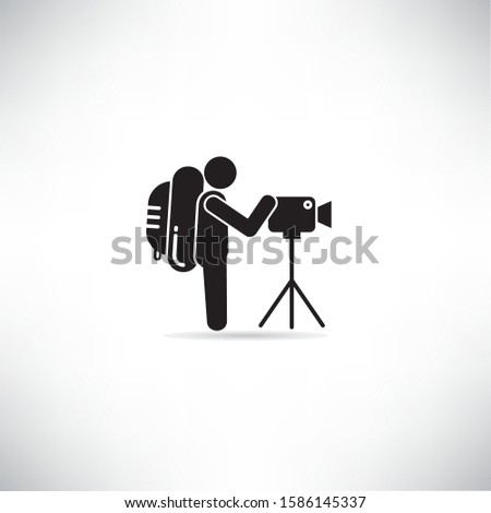 traveler, backpacker take photo vector