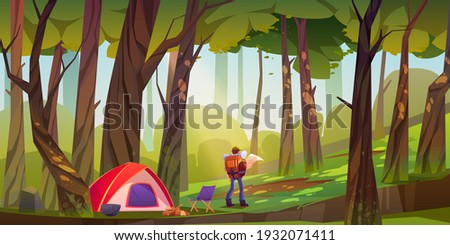 Traveler camp in forest, tourist with backpack and map stand at scenery wood landscape search right direction. Travel journey, adventure, orienteering or hiking lifestyle, Cartoon vector illustration