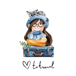Traveler girl with a cat. Vector illustration in watercolor style. Cute children's character.