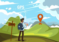 Traveler guy with gps map on tablet searching path to a mountain on the green landscape and clouds. Flat design vector illustration.