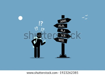 Traveler holding a compass, lose his way and confused with a road sign. Vector illustration concept of misdirection, searching destination, and uncertain, and wrong direction. Photo stock ©