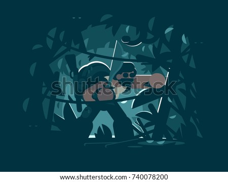 traveler in jungle man with