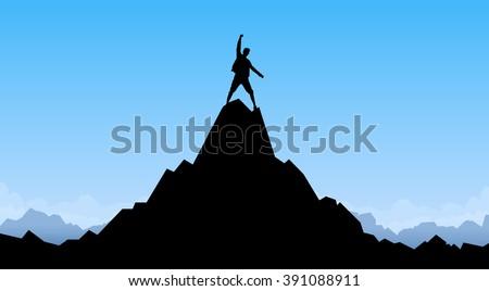 Traveler Man Silhouette Stand Top Mountain Rock Peak Climber Empty Copy Space Vector Illustration