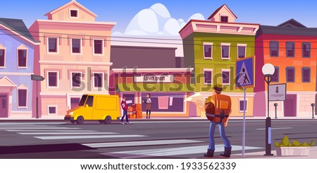 Traveler man with map and backpack on retro city street with antique buildings and porter unload car with alcohol bottles in boxes near store entrance with saleswoman, Cartoon vector illustration Сток-фото ©