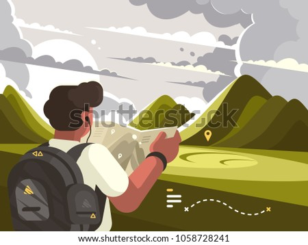 traveler man with map planning