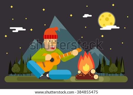 traveler sings plays night camp