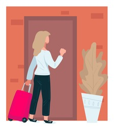 Traveler woman with suitcase bag knocking doors. Traveling female character returning home or visiting friends in town. Lady approaching apartment with house plant beside, vector in flat style