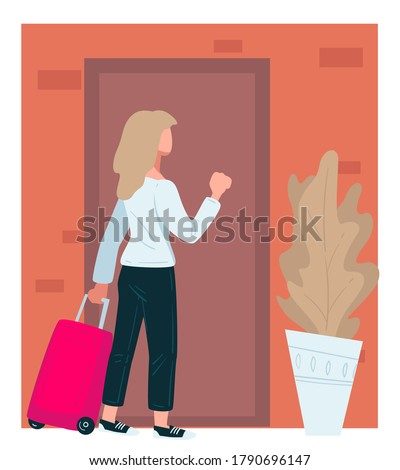 Traveler woman with suitcase bag knocking doors. Traveling female character returning home or visiting friends in town. Lady approaching apartment with house plant beside, vector in flat style Foto d'archivio ©