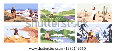 Travelers enjoying scenic view flat vector illustrations set. Young people on adventure cartoon character. Searching for goal, opening new horizons, outdoor rest concept. Tourists contemplating nature