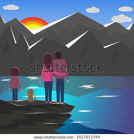 travelers family with a child