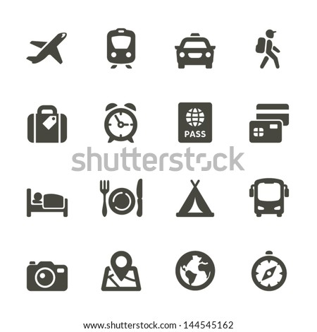 Traveling and transport icons for Web and Mobile App. Rounded Set 4.