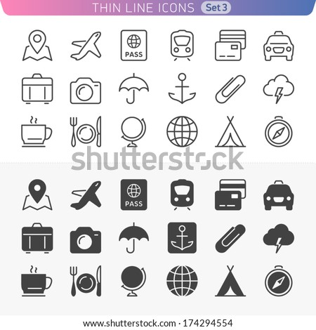 Traveling and transport set. Trendy line icons for web and mobile. Normal and enable state.