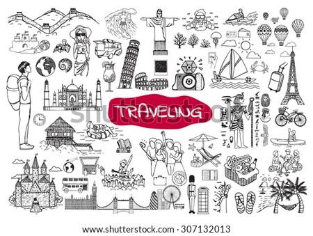 Traveling around the world doodle set isolated on white background. #307132013